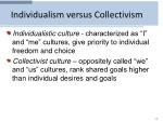 individualism versus collectivism