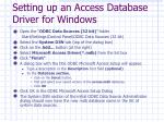 setting up an access database driver for windows