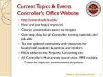 current topics events controller s office website