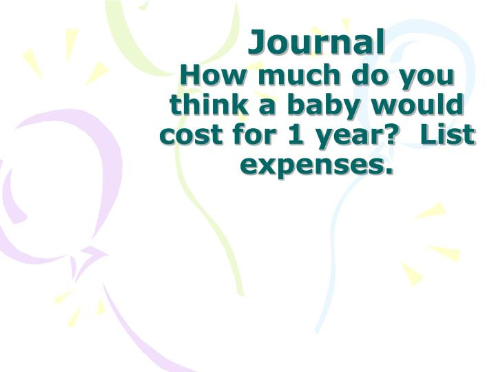 journal how much do you think a baby would cost for 1 year list expenses n.