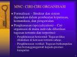 mnc ciri ciri organisasi