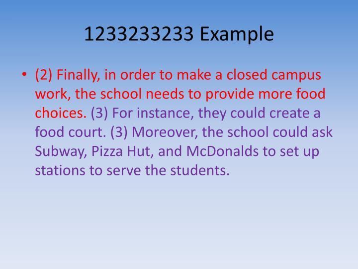 1233233233 Example