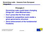 governing code lessons from european integration