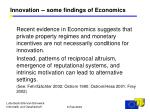 innovation some findings of economics