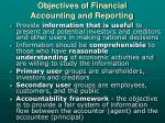 objectives of financial accounting and reporting
