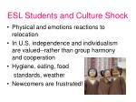 esl students and culture shock