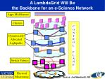 a lambdagrid will be the backbone for an e science network