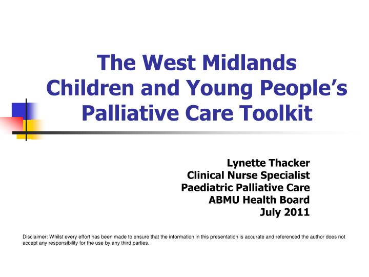 the west midlands children and young people s palliative care toolkit n.