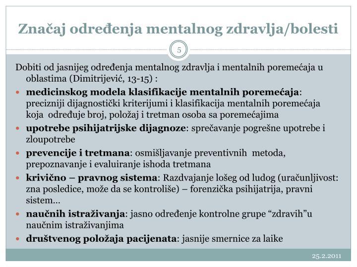 Značaj određenja mentalnog zdravlja/bolesti