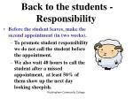 back to the students responsibility