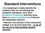 standard interventions
