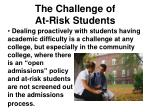 the challenge of at risk students