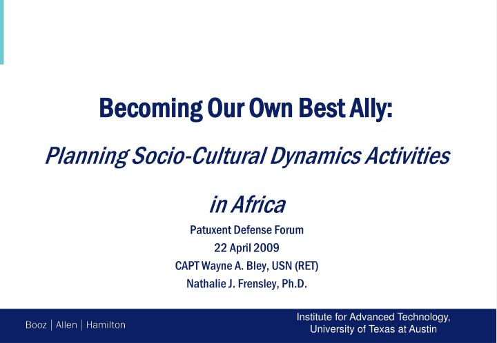 becoming our own best ally planning socio cultural dynamics activities in africa n.