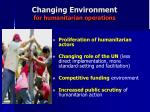 changing environment for humanitarian operations