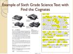 example of sixth grade science text with find the cognates