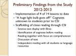 preliminary findings from the study 2012 2013