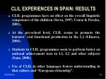 clil experiences in spain results