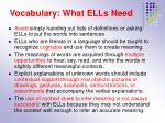 vocabulary what ells need
