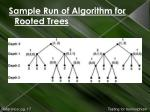 sample run of algorithm for rooted trees