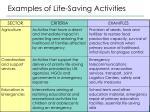 examples of life saving activities