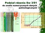 podzia rdzenia sw 3 91 do analiz numerycznych danych palinologicznych
