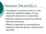 classroom talk and ell s