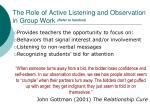the role of active listening and observation in group work refer to handout