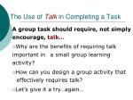 the use of talk in completing a task