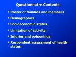 questionnaire contents