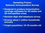 sampling frame national immunization survey