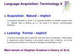 language acquisition terminology ii