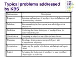 typical problems addressed by kbs