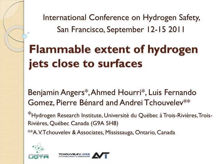 flammable extent of hydrogen jets close to surfaces n.