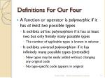 definitions for our four