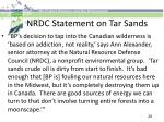 nrdc statement on tar sands