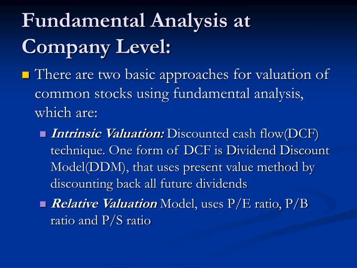 Fundamental Analysis at Company Level: