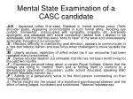 mental state examination of a casc candidate
