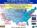 the optiputer will become a national scale collaboratory in 2004