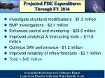 projected pde expenditures through fy 2016