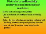 risks due to radioactivity energy released from nuclear reactions