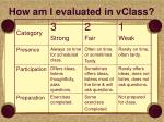 how am i evaluated in vclass