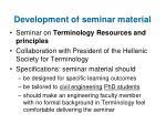 development of seminar material