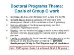 doctoral programs theme goals of group c work