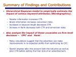 summary of findings and contributions
