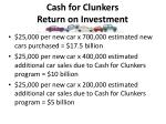 cash for clunkers return on investment