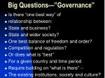 big questions governance