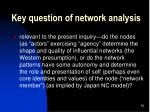 key question of network analysis