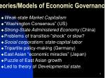 theories models of economic governance