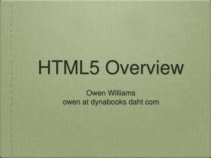 html5 overview n.