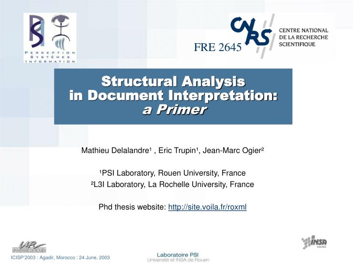 structural analysis in document interpretation a primer n.